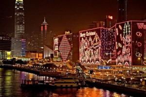 Hong Kong iluminado por Navidad